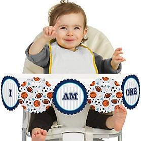 Go, Fight, Win - Sports 1st Birthday - I am One -  First Birthday High Chair Birthday Banner