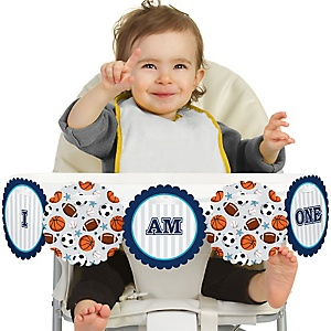 Go, Fight, Win - Sports 1st Birthday - I am One -  First Birthday High Chair Birthday Banner