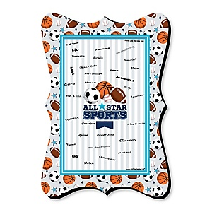 Go, Fight, Win - Sports - Unique Alternative Guest Book - Baby Shower or Birthday Party Signature Mat