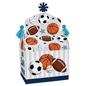 Go, Fight, Win - Sports - Treat Box Party Favors - Baby Shower or Birthday Party Goodie Gable Boxes - Set of 12