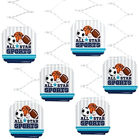 Go, Fight, Win - Sports - Baby Shower or Birthday Party Hanging Decorations - 6 ct