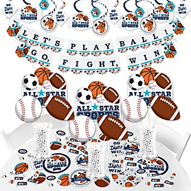 Go, Fight, Win - Sports - Baby Shower or Birthday Party Supplies - Banner Decoration Kit - Fundle Bundle