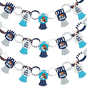 Go, Fight, Win - Sports - 90 Chain Links and 30 Paper Tassels Decoration Kit - Baby Shower or Birthday Party Paper Chains Garland - 21 feet