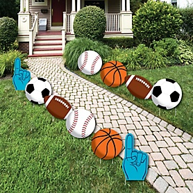 Go, Fight, Win - Sports - Lawn Decorations - Outdoor Baby Shower or Birthday Party Yard Decorations - 10 Piece