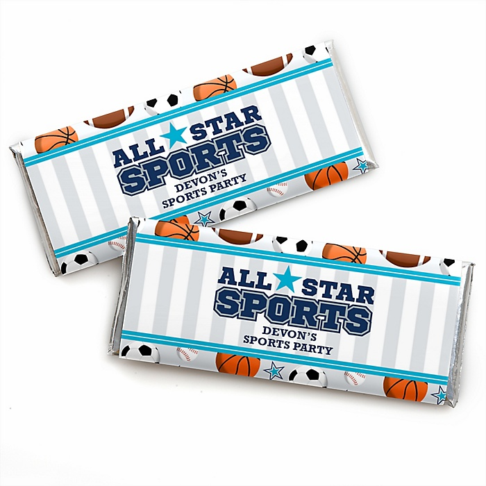 Go, Fight, Win - Sports - Personalized Candy Bar Wrapper Baby Shower or Birthday Party Favors - Set of 24