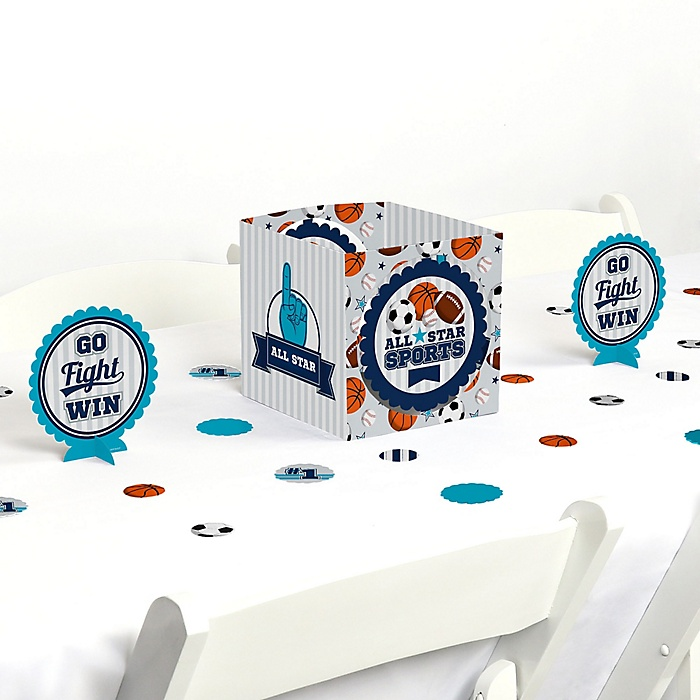 Go, Fight, Win - Sports - Baby Shower or Birthday Party Centerpiece and Table Decoration Kit