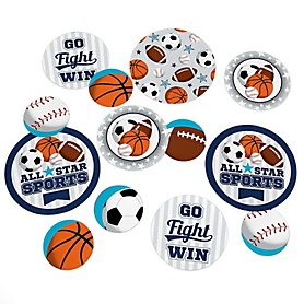 Go, Fight, Win - Sports - Baby Shower or Birthday Party Giant Circle Confetti - Party Decorations - Large Confetti 27 Count