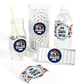 Go, Fight, Win - Sports - DIY Party Supplies - Baby Shower or Birthday Party DIY Wrapper Favors & Decorations - Set of 15