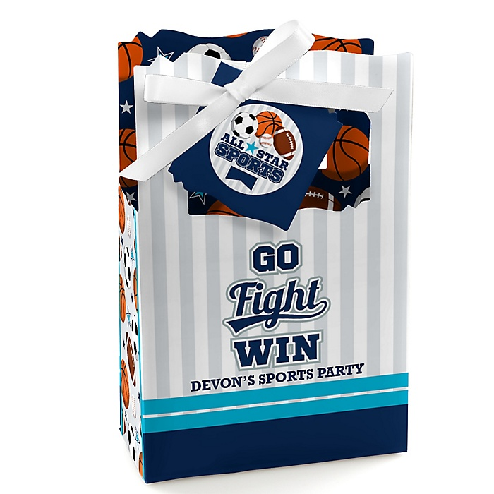 Go, Fight, Win - Sports - Personalized Baby Shower or Birthday Party Favor Boxes - Set of 12