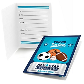 Go, Fight, Win - Sports - Fill In Baby Shower or Birthday Party Invitations - 8 ct