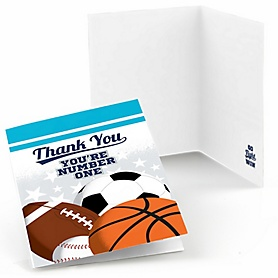 Go, Fight, Win - Sports - Baby Shower or Birthday Party Thank You Cards - 8 ct
