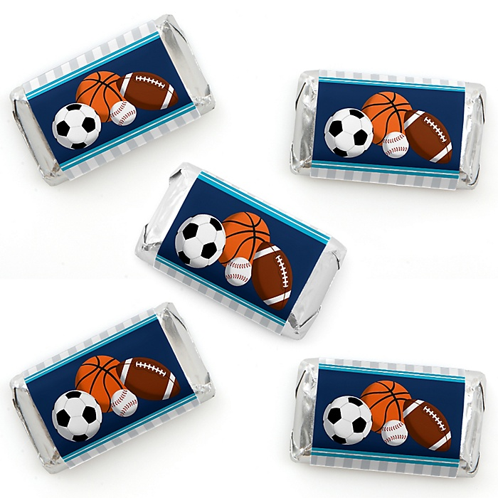 Go, Fight, Win - Sports - Mini Candy Bar Wrapper Stickers - Baby Shower or Birthday Party Small Favors - 40 Count