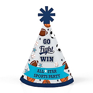 Go, Fight, Win - Sports - Personalized Mini Cone Baby Shower or Birthday Party Hats - Small Little Party Hats - Set of 10
