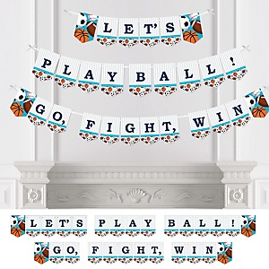 Go, Fight, Win - Sports - Baby Shower or Birthday Party Bunting Banner - Party Decorations - Let's Play Ball Go, Fight, Win