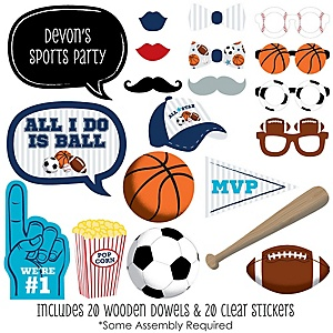 Go, Fight, Win - Sports - 20 Piece Baby Shower or Birthday Party Photo Booth Props Kit