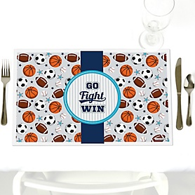 Go, Fight, Win - Sports - Party Table Decorations - Baby Shower or Birthday Party Placemats - Set of 12