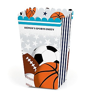 Go, Fight, Win - Sports - Personalized Baby Shower or Birthday Party Popcorn Favor Treat Boxes - Set of 12