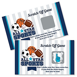Go, Fight, Win - Sports - Baby Shower or Birthday Party Scratch Off Cards - 22 Cards