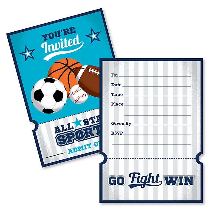 Go, Fight, Win - Sports - Shaped Fill-In Invitations - Baby Shower or Birthday Party Invitation Cards with Envelopes - Set of 12