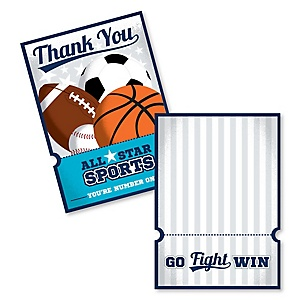 Go, Fight, Win - Sports - Shaped Thank You Cards - Baby Shower or Birthday Party Thank You Note Cards with Envelopes - Set of 12