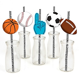 Go, Fight, Win - Sports - Paper Straw Decor - Baby Shower or Birthday Party Striped Decorative Straws - Set of 24