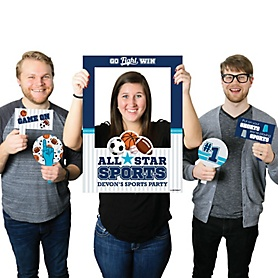 Go, Fight, Win - Sports - Personalized Baby Shower or Birthday Party Selfie Photo Booth Picture Frame & Props - Printed on Sturdy Material
