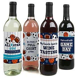 Go, Fight, Win - Sports - Baby Shower or Birthday Party Decorations for Women and Men - Wine Bottle Label Stickers - Set of 4