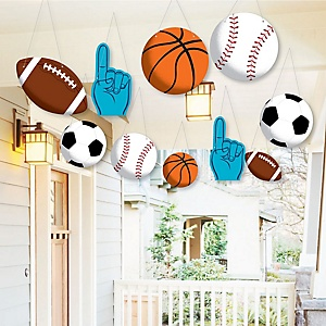 Hanging Go, Fight, Win - Sports - Outdoor Baby Shower or Birthday Party Hanging Porch & Tree Yard Decorations - 10 Pieces