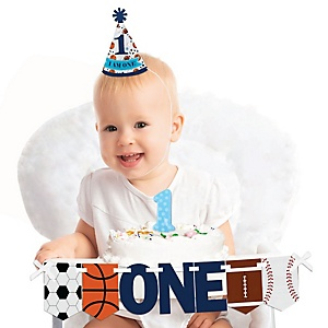 Go, Fight, Win - Sports 1st Birthday - First Birthday Boy Smash Cake Decorating Kit - High Chair Decorations