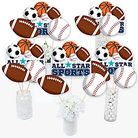 Go, Fight, Win - Sports - Baby Shower or Birthday Party Centerpiece Sticks - Table Toppers - Set of 15