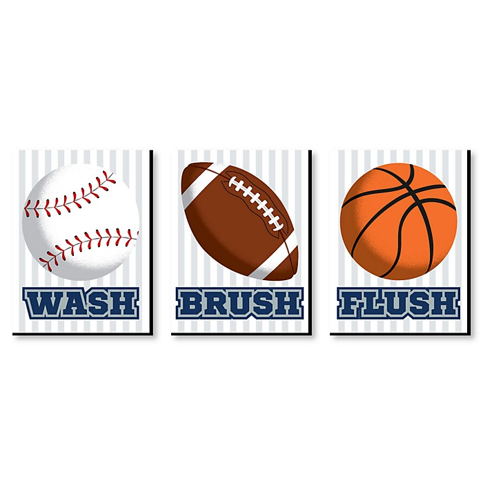 Go, Fight, Win - Sports - Kids Bathroom Rules Wall Art - 7.5 x 10 inches - Set of 3 Signs - Wash, Brush, Flush