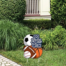 Go, Fight, Win - Sports - Outdoor Lawn Sign - Baby Shower or Birthday Party Yard Sign - 1 Piece