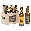 Gobble 'Til You Wobble - 6 Funny Thanksgiving Beer Bottle Labels and 1 Carrier