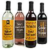 Gobble 'Til You Wobble - Funny Thanksgiving Wine Bottle Labels - Set of 4