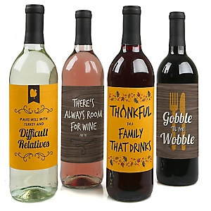 Gobble 'Til You Wobble - Funny Thanksgiving Decorations for Women and Men - Wine Bottle Labels - Set of 4