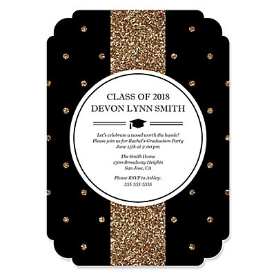 Tassel worth the hassle gold personalized graduation invitations tassel worth the hassle gold personalized graduation invitations set of 12 bigdotofhappiness filmwisefo