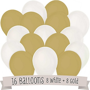 White and Gold - Party Latex Balloons - 16 ct
