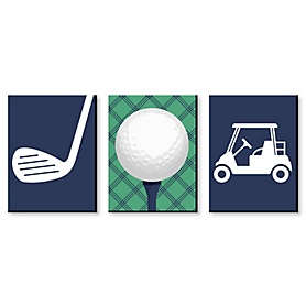 Par-Tee Time - Golf - Sports Themed Nursery Wall Art, Kids Room Decor and Game Room Home Decorations - 7.5 x 10 inches - Set of 3 Prints