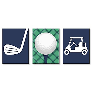 "Par-Tee Time - Golf - Sports Themed Wall Art & Kids Room Décor - 7.5"" x 10"" - Set of 3 Prints"