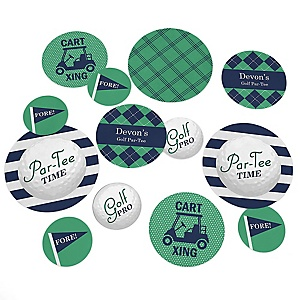 Par-Tee Time - Golf - Personalized Birthday or Retirement Party Giant Circle Confetti - Golf Party Decorations - Large Confetti 27 Count