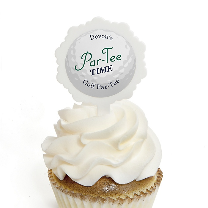 Par-Tee Time - Golf - Cupcake Picks with Personalized Stickers - Birthday or Retirement Party Cupcake Toppers - 12 ct