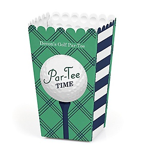 Par-Tee Time - Golf - Personalized Birthday or Retirement Party Popcorn Favor Treat Boxes