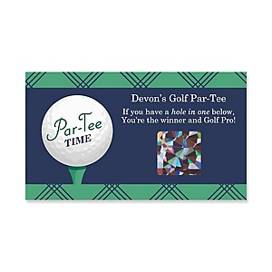 Par-Tee Time - Golf - Personalized Birthday or Retirement Party Scratch Off Cards - 22 ct.