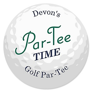 Par-Tee Time - Golf - Round Personalized Birthday or Retirement Party Sticker Labels - 24 ct