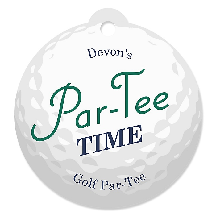 Par-Tee Time - Golf - Round Personalized Birthday or Retirement Party Die-Cut Tags - 20 ct