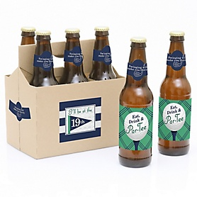Par-Tee Time - Golf - Decorations for Women and Men - 6 Beer Bottle Label Stickers and 1 Carrier - Birthday or Retirement Gifts