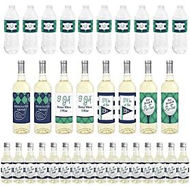 Par-Tee Time - Golf - Mini Wine Bottle Labels, Wine Bottle Labels and Water Bottle Labels - Birthday or Retirement Party Decorations - Beverage Bar Kit - 34 Pieces