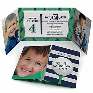 Par-Tee Time - Golf - Personalized Birthday Party Photo Invitations - Set of 12