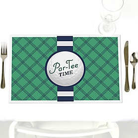 Par-Tee Time - Golf - Party Table Decorations - Birthday or Retirement Party Placemats - Set of 12