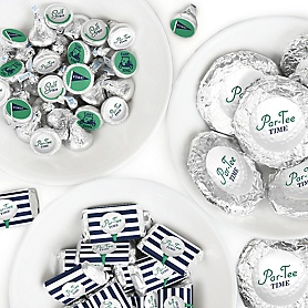 Par-Tee Time - Golf - Mini Candy Bar Wrappers, Round Candy Stickers and Circle Stickers - Birthday or Retirement Party Candy Favor Sticker Kit - 304 Pieces